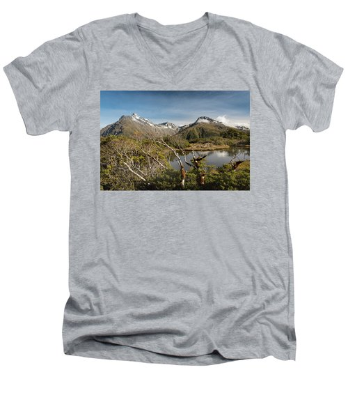 Men's V-Neck T-Shirt featuring the photograph Windswept Branches On Key Summit by Gary Eason
