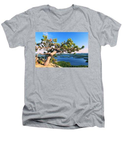 Windswept Pine On Rattlesnake Mountain Men's V-Neck T-Shirt by Roupen  Baker