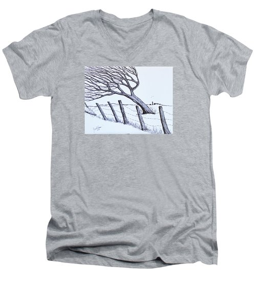 Men's V-Neck T-Shirt featuring the drawing Windy 24/7 by Jack G Brauer