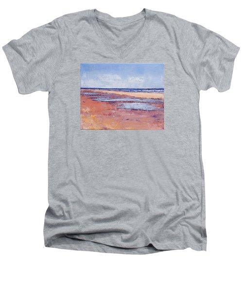 Windy October Beach Men's V-Neck T-Shirt by Trina Teele