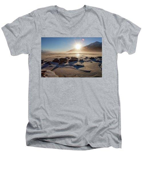 Windy Winter Sunset Men's V-Neck T-Shirt