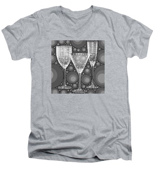 Wine Glass Art-2 Men's V-Neck T-Shirt by Nina Bradica