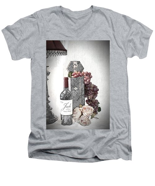 Men's V-Neck T-Shirt featuring the photograph Wine Tasting Evening by Sherry Hallemeier