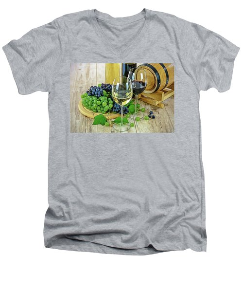 Men's V-Neck T-Shirt featuring the painting Wine Tasting by Harry Warrick