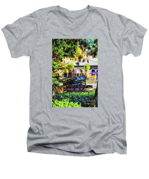 Wine Wagon Men's V-Neck T-Shirt by Rick Bragan