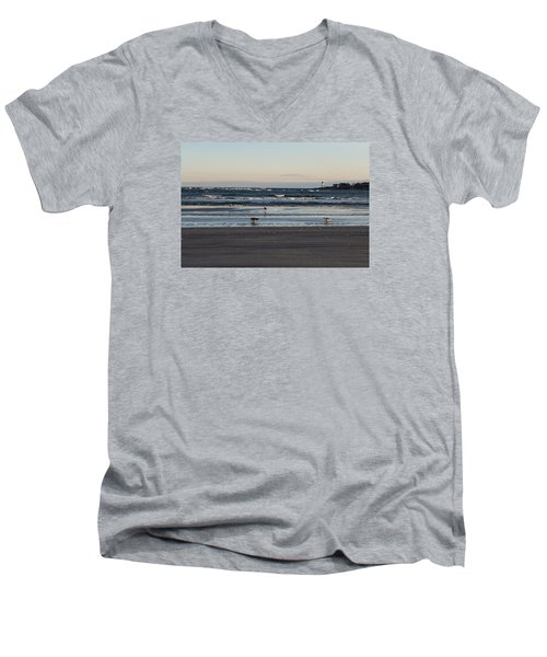 Wingaersheek Beach Seagulls At Sunrise Men's V-Neck T-Shirt