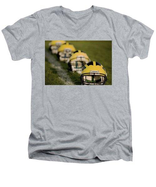 Winged Helmets On Yard Line Men's V-Neck T-Shirt