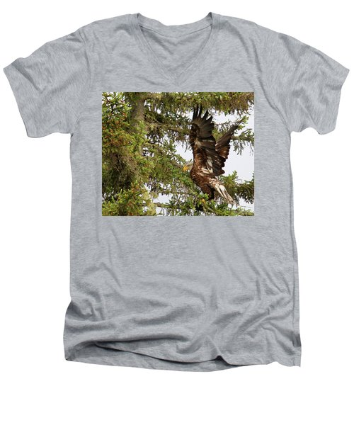 Men's V-Neck T-Shirt featuring the photograph Winging-it Up The Tree 1 by Debbie Stahre
