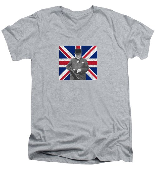 Winston Churchill And His Flag Men's V-Neck T-Shirt by War Is Hell Store