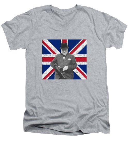 Winston Churchill And His Flag Men's V-Neck T-Shirt
