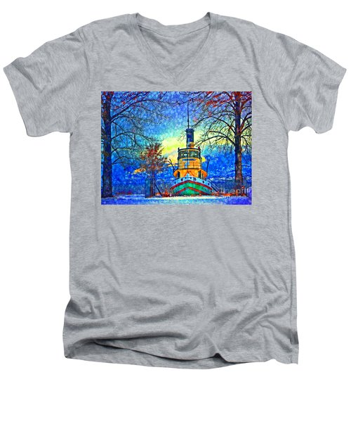 Winter And The Tug Boat 2 Men's V-Neck T-Shirt