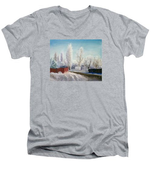 Men's V-Neck T-Shirt featuring the painting Winter At Bonanza by Sherril Porter