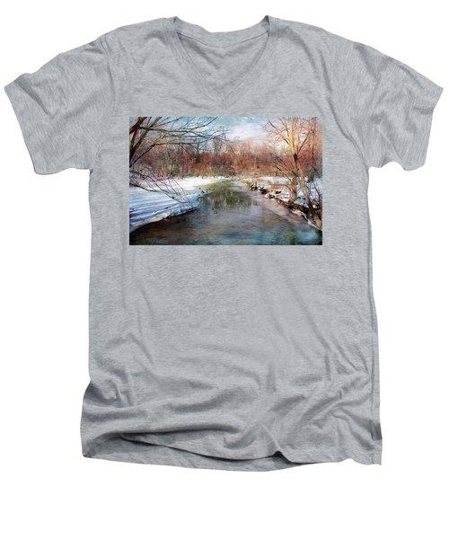 Winter At Cooper River Men's V-Neck T-Shirt