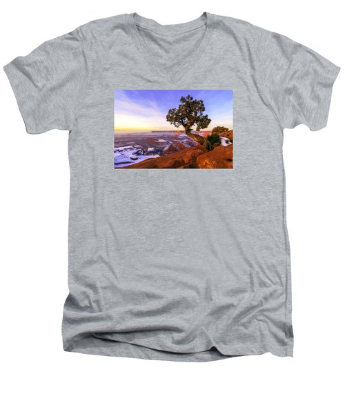 Winter At Dead Horse Men's V-Neck T-Shirt by Chad Dutson