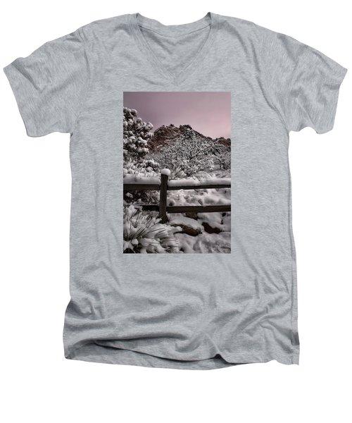Men's V-Neck T-Shirt featuring the photograph Winter At Garden Of The Gods by Ellen Heaverlo