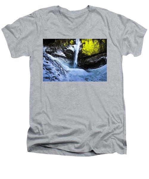 Winter At Latourell Falls Men's V-Neck T-Shirt