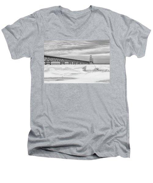 Men's V-Neck T-Shirt featuring the photograph Winter At Mackinac Bridge by John McGraw