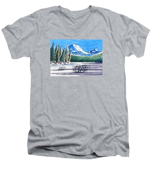 Winter At Mt. Lassen Men's V-Neck T-Shirt by Terry Banderas