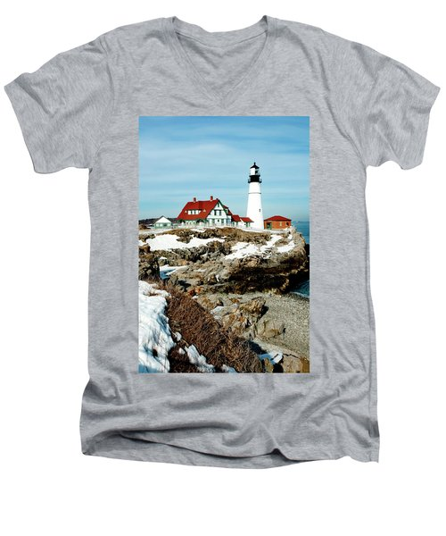 Winter At Portland Head Men's V-Neck T-Shirt