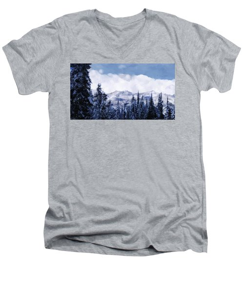 Winter At Revelstoke Men's V-Neck T-Shirt by Debra Baldwin