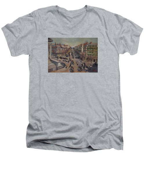 Winter At The Boulevard De La Madeleine, Paris Men's V-Neck T-Shirt