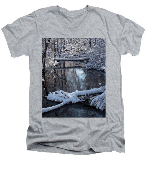 Winter At The Brook Men's V-Neck T-Shirt
