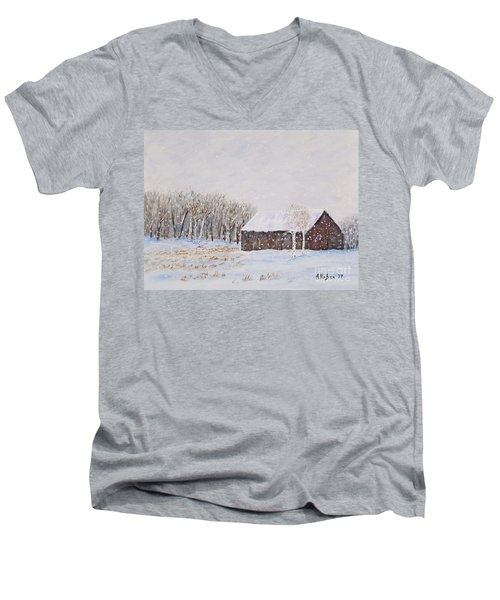 Winter Barn Men's V-Neck T-Shirt by Stanton Allaben