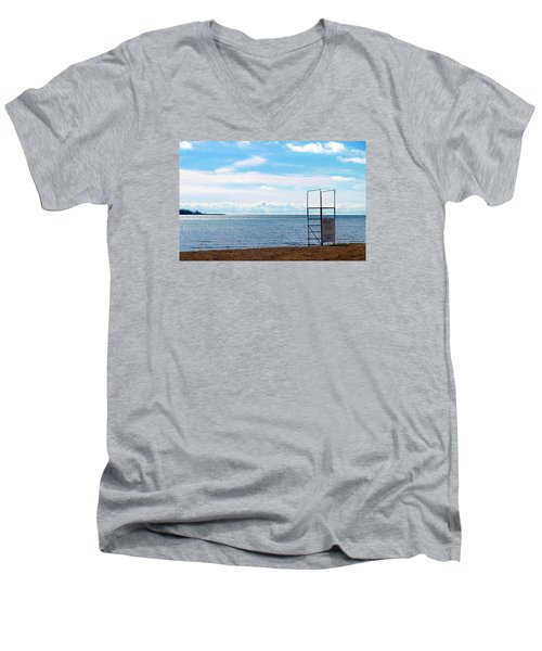 Men's V-Neck T-Shirt featuring the photograph Winter Beach by Valentino Visentini