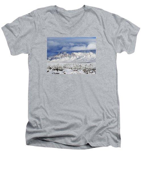 Men's V-Neck T-Shirt featuring the photograph Winter Beauties Organ Mountains by Kurt Van Wagner