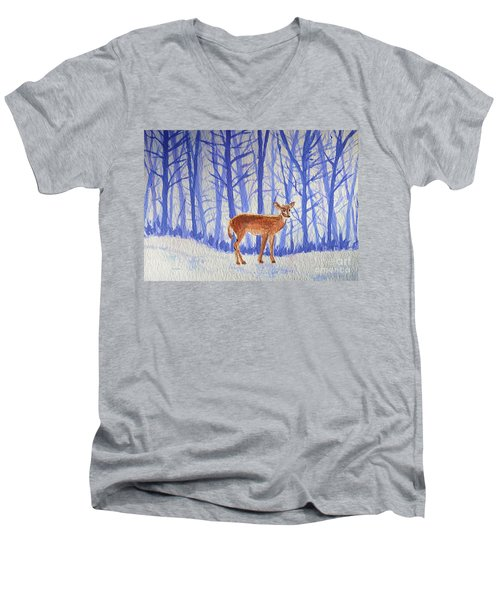 Winter Begins Men's V-Neck T-Shirt by Li Newton