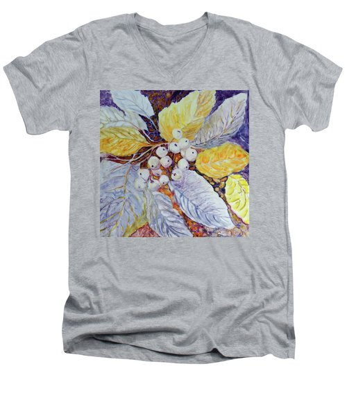 Men's V-Neck T-Shirt featuring the painting Winter Berries by Joanne Smoley