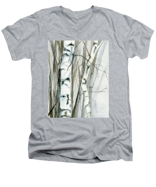 Men's V-Neck T-Shirt featuring the painting Winter Birch by Laurie Rohner