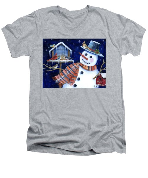 Winter Birds Delight Men's V-Neck T-Shirt