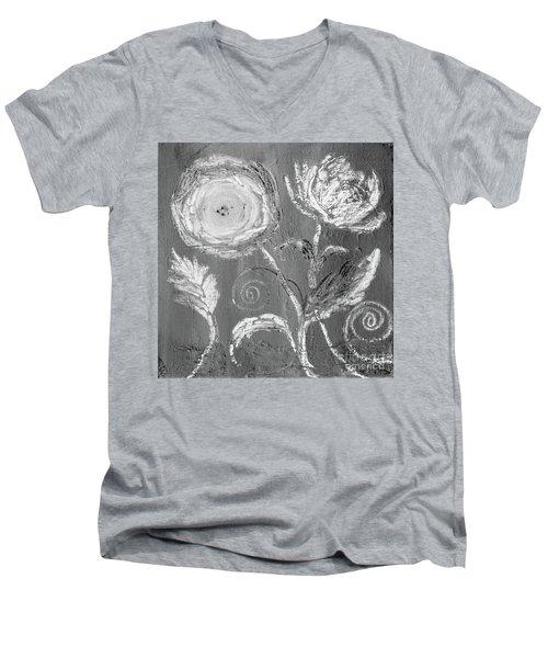 Men's V-Neck T-Shirt featuring the digital art Winter Bloom II by Robin Maria Pedrero