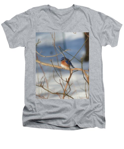 Men's V-Neck T-Shirt featuring the painting Winter Bluebird Art by Smilin Eyes  Treasures