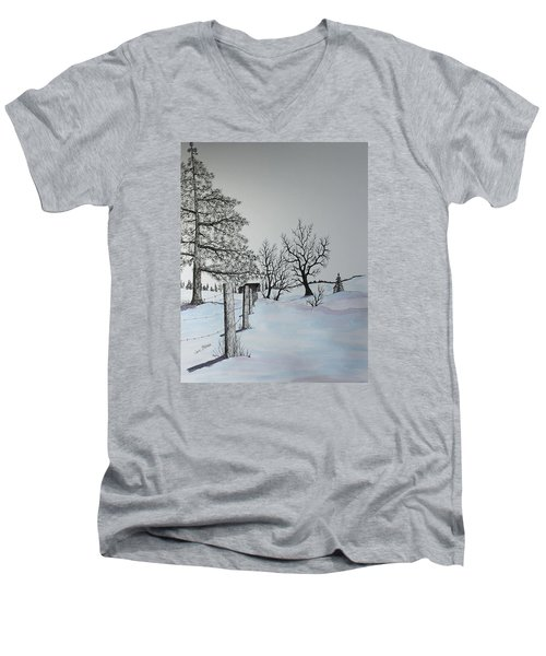 Men's V-Neck T-Shirt featuring the painting Winter Blues by Jack G  Brauer
