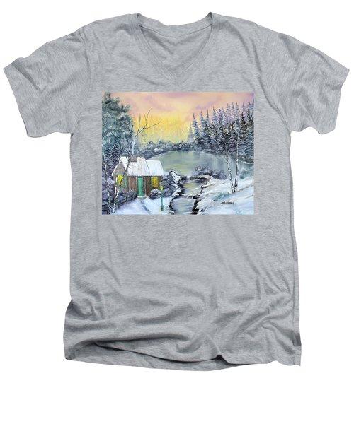 Winter Cabin Men's V-Neck T-Shirt