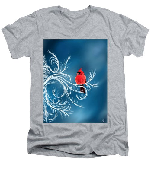 Winter Cardinal Men's V-Neck T-Shirt