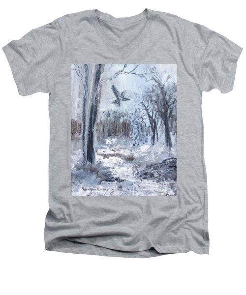 Men's V-Neck T-Shirt featuring the painting Winter Caws by Robin Maria Pedrero