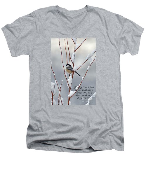 Men's V-Neck T-Shirt featuring the photograph Winter Chickadee Giving by Diane E Berry