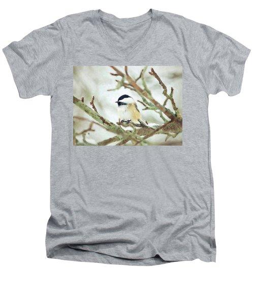 Winter Chickadee Men's V-Neck T-Shirt
