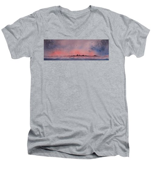 Men's V-Neck T-Shirt featuring the painting Winter City by Ruth Kamenev