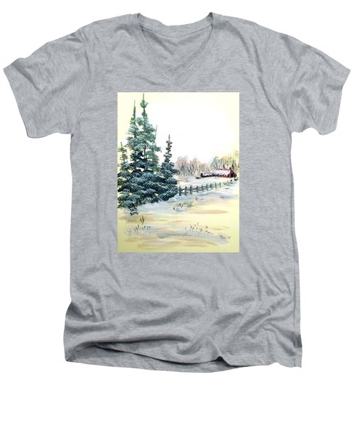 Men's V-Neck T-Shirt featuring the painting Winter Comes At The Farm  by Dorothy Maier