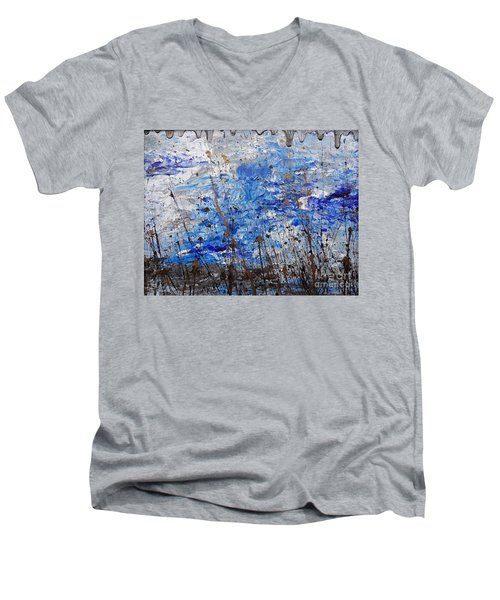 Men's V-Neck T-Shirt featuring the painting Winter Crisp by Jacqueline Athmann