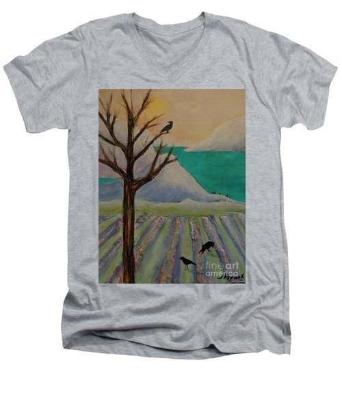 Winter Crows Men's V-Neck T-Shirt by Jeanette French