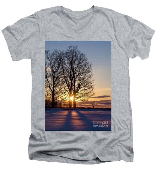 Winter, Crystal Spring Farm, Brunswick, Maine -78592 Men's V-Neck T-Shirt by John Bald