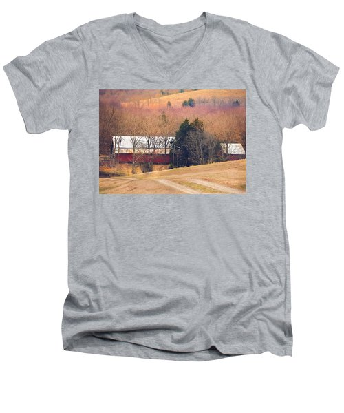 Winter Day On A Tennessee Farm Men's V-Neck T-Shirt by Debbie Karnes