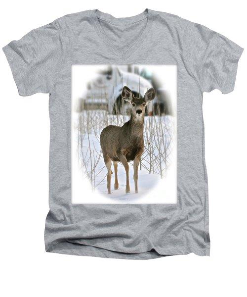 Winter Deer On The Tree Farm Men's V-Neck T-Shirt