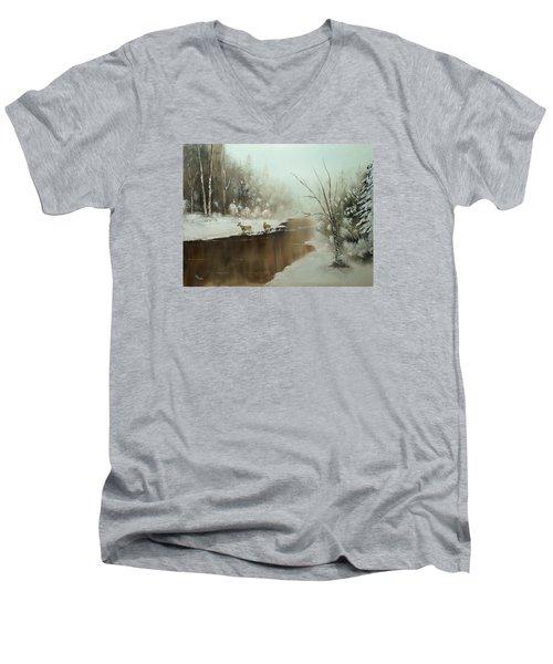 Men's V-Neck T-Shirt featuring the painting Winter Deer Run by Chris Fraser