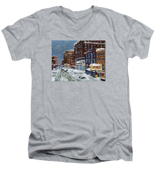 Winter Downtown Men's V-Neck T-Shirt by Rodger Ellingson